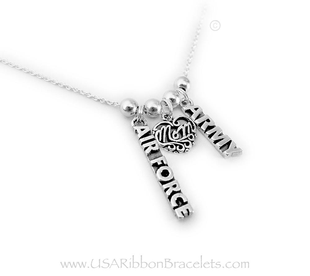 This Army and Air Force Mom Necklace is shown with an Air Force Charm, Filigree Mom Charm and an Army Charm on a sterling silver rolo chain.