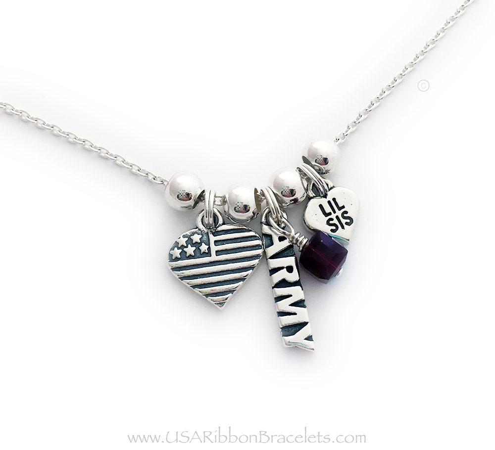 Army Little Sister Necklace with a USA Heart Flag Charm shown on a rolo chain. They added a January or Garnet Birthstone Crystal Dangle Charm.