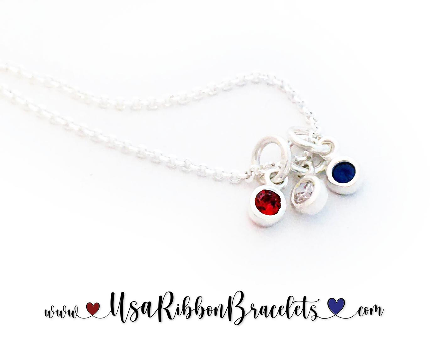 Red White and Blue Mom charm NECKLACE