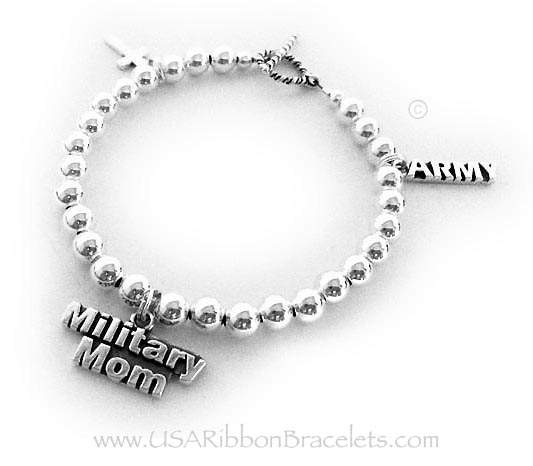 Army Military Mom Charm Bracelet   Simple Cross Charm, MILITARY MOM charm and an ARMY charm