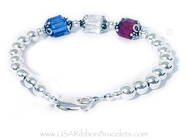 8mm cube Large Red White and Blue Bracelet (charm optional)