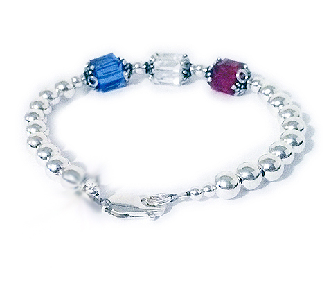 Large Red White and Blue Bracelet (charm optional)