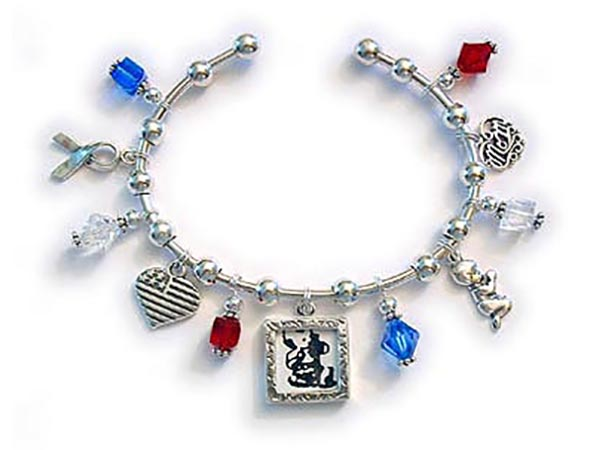 Red White and Blue Bangle Bracelet with 5 sterlings silver charms and 6 red white and blue crystal dangles