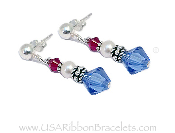 Blue Square Crystal Earrings