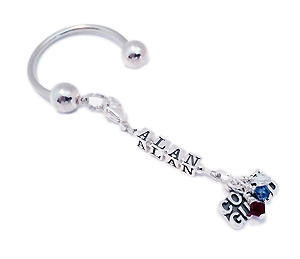 Name (Allie & Chris)  Key Chain with Birthstone Crystal and a Square Picture Frame Charm