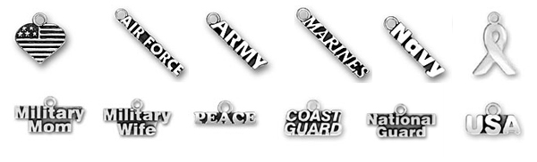 Sterling Silver Military Charms