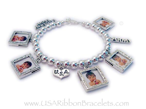 Military Mom Picture Frame Charm Bracelet