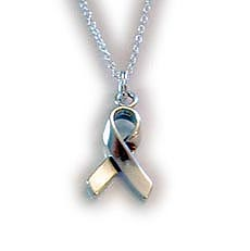 RIBBON CHARM NECKLACE -  18 inch sterling silver necklace