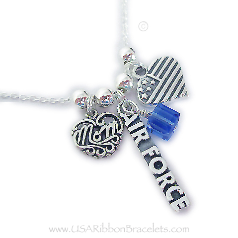 "Air Force Mom necklace comes with a Air Force charm, a MOM charm and a USA Heart Flag charm. Shown on a 18"" - .925 sterling silver ROLO chain. They added a September or Sapphire Birthstone Crystal Dangle Charm."