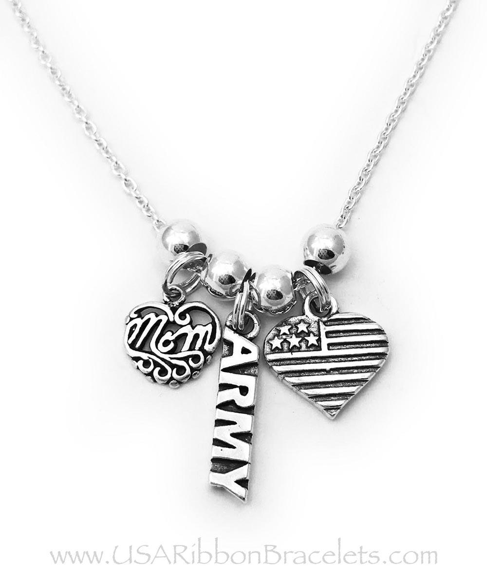 Army Mom necklace comes with a Army charm, a MOM charm and a USA Heart Flag charm. Shown on a 18inch - .925 sterling silver ROLO chain.