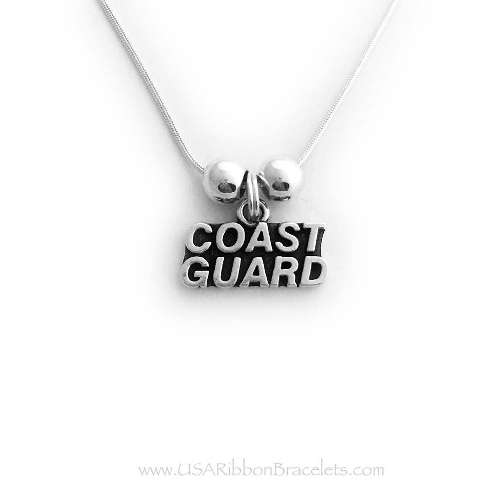 Sterling Silver Coast Guard Mom or Wife Necklace
