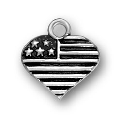 Sterling Silver USA Heart Flag Charm