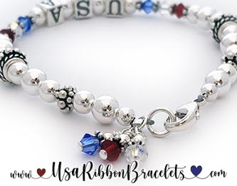 This is a USA Bracelet and Red White and Blue Earrings - each sold separately.
