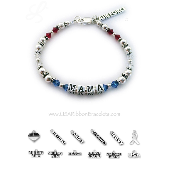 This Red White and Blue Bracelet is shown with MAMA and they added an AIR FORCE charm. You may add as many charms as you would like to your bracelet.