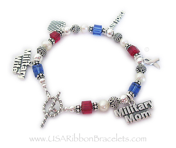 Red White Blue Bracelet For Military Mommyilitary Grandmas Charms Shown